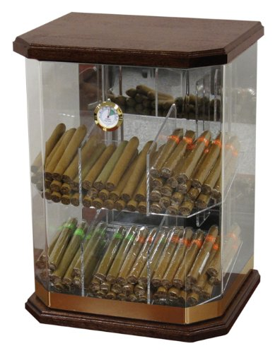 Prestige Import Group 150 Ct. Acrylic & Wood Display Humidor 6 Bins w/ Hygrom