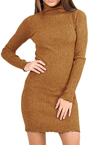 Knitted Dresses for Women, ESONLAR Stretchy Slim Fit Mock Neck Long Sleeve Sweater Dress Yellow M