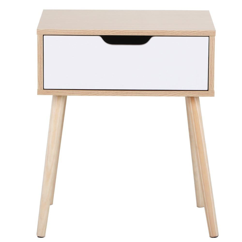 Topeakmart Walnut Bedside Table Solid Wood Legs Nightstand with White Storage Drawer by Topeakmart (Image #2)