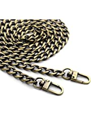 """Anvin 47"""" Flat Chain Strap DIY Iron Handbag Chains Replacement Purse Straps Shoulder Crossbody Wallet Chain with Metal Buckles for Belt Bag Clutch Pouche(Sturdy With Big Chain Links Weights Only 135g)"""