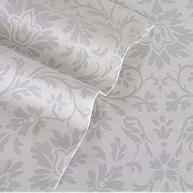 Laura Ashley Jayden Flannel Sheet Set, Queen, Gray