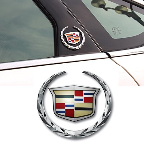 Cadillac Emblem Logo Symbol Metal Decals Labeling Car Stickers for Escalade ATS SRX XTS CTS XT5 XLR, Hitch Tailgate Hood Emblem, 1 Pack ()