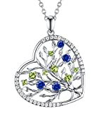 Re Besta September Birthstone Created Blue Sapphire and Green Peridot Fine Jewelry Love Heart The Tree of Life Pendant Necklace Birthday Anniversary Gifts for Her Women 18''+2'' Changeable Chain