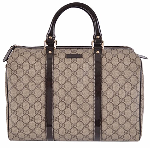 Gucci Women's Beige Brown GG Supreme Canvas Boston Purse Satchel - Handbags Women Gucci