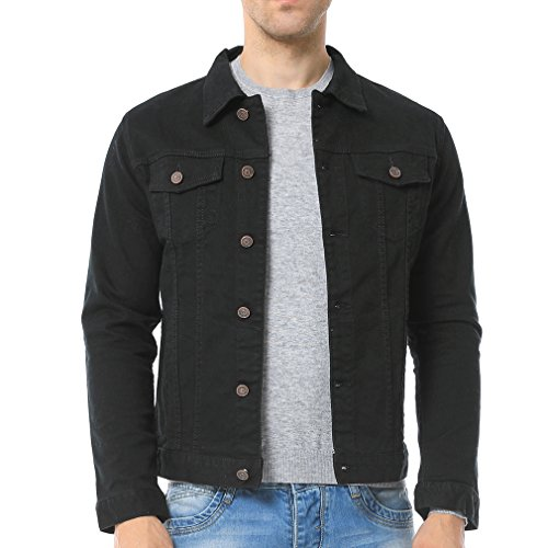 Just No Logo Men's Casual Denim Jacket(Black,US Large)