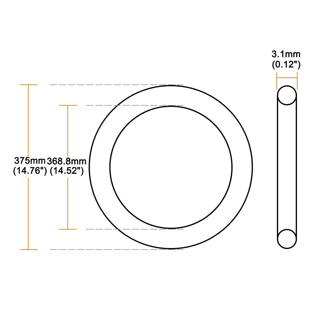 O-Rings Nitrile Rubber 393.8 mm Internal Diameter 400 mm OD 3.1 mm Width Round Seal Gasket