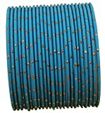 Touchstone New Colorful Bangle Collection Indian Bollywood Exclusive Golden Glaze Tiffany Blue Color Designer Jewelry Special Large Size Bangle Bracelets. Set of 24 for Women.
