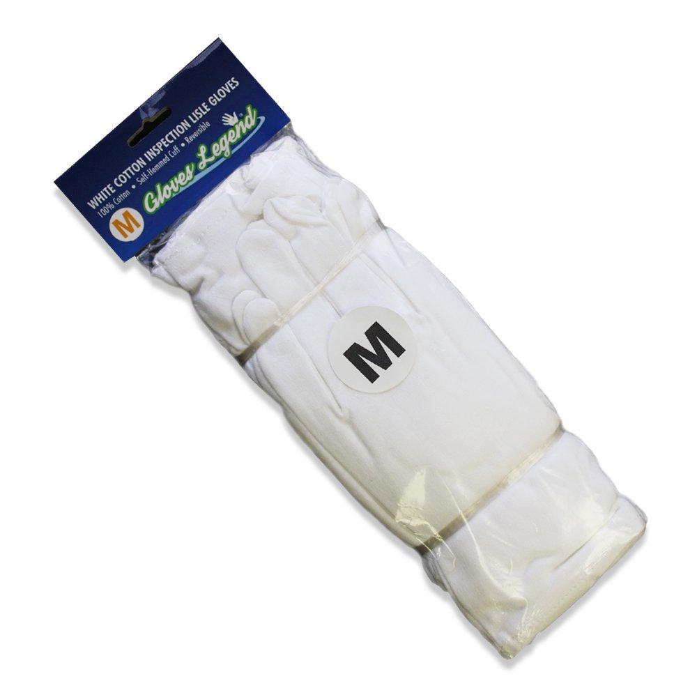 Size Medium - 12 Pairs (24 Gloves) Gloves Legend White Coin Jewelry Silver Inspection 100% Cotton Lisle Gloves - Premium Weight