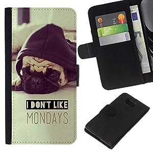 KLONGSHOP // Tirón de la caja Cartera de cuero con ranuras para tarjetas - no me gustan los lunes pug perro sepia - Samsung ALPHA G850 //