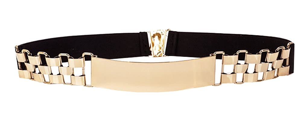 Women Elastic Mirror Metal Waist Belt Metallic Waistband Golden_3 ZXG00002580