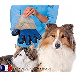 Dog Cat Pet Grooming Glove, True Touch Shedding Hair Clean up, Healthcare Bath Glove Hair Removal Brush by Standard (right)