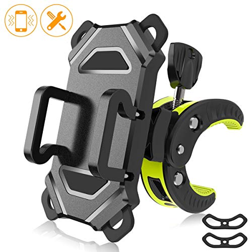Universal Bicycle Motorcycle Phone Mount,Bike Cell Phone Holder,Handlebar Rack with 360° Rotation Adjustable Anti Shake Silicone Bands Cycling Compatible with All Smart Phone iPhone X,8/7 Plus,Galaxy