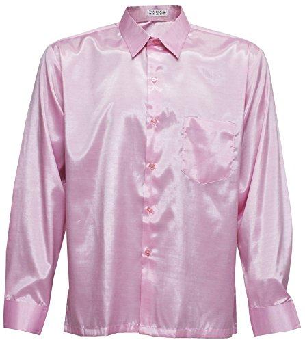 Thai Silk Men's Long Sleeve Shirt (Pink, M) (Thai Silk Clothes)