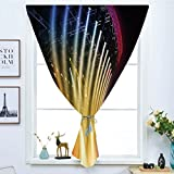 iPrint Blackout Window Curtain,Free Punching Magic Stickers Curtain,Musical Theatre Home Decor,Colorful Rays Concert Dance Music Staging Technology Smoky Night,Multicolor,Paste Style,for Living Room