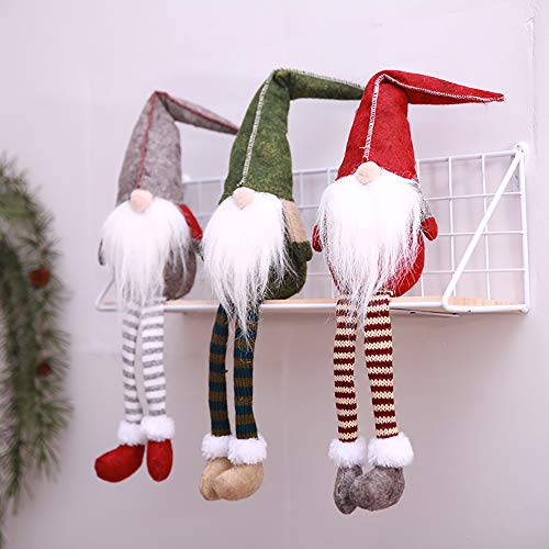 (Flying Spoon 3pcs Handmade Christmas Gnome Decoration Swedish Figurines Sitting Long-Legged Christmas elf Bottle Decoretion Set)