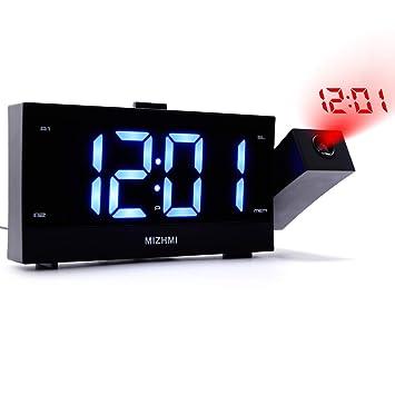 1.8 Pulgadas Azul dígitos Pantalla LED Proyección Reloj Despertador Proyección Reloj Radio Despertador FM Radio
