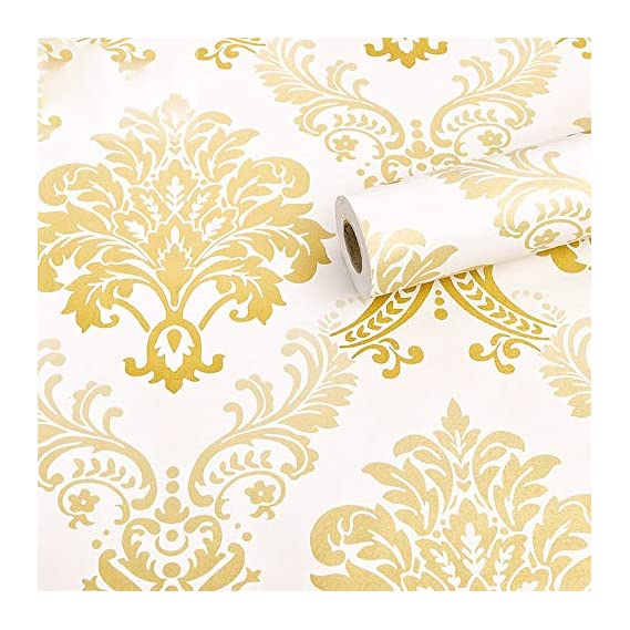 Wolpin Wall Stickers DIY Wallpaper (45 x 500 cm) Floral Damask Self Adhesive, Living Room, Hall, Sofa Background Decal
