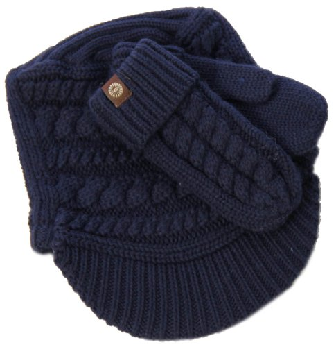 (Kids Cable Mitten & Visor Box Set in Indigo Blue by UGG Australia)