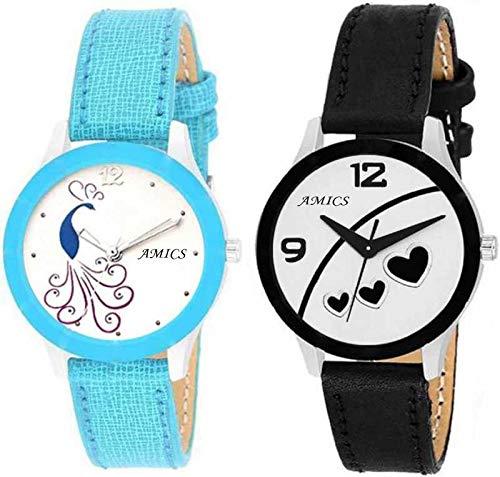Amics New Stylish Luxury Fashion Wrist Watch - for Women & Girl Combo of 2-7014