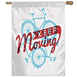 HUANGLING Keep It Moving Motivational Phrase Hipster Lifestyle Bicycle Grunge Display Decorative Home Flag Garden Flag Demonstrations Flag Family Party Flag Match Flag 27''x37''