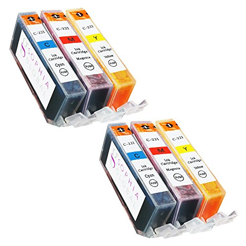 Price comparison product image Sophia Global Compatible Ink Cartridge Replacement Set for Canon CLI-221 (Pack of 6: 2 CLI-221 Cyan,  2 Magenta,  2 Yellow)