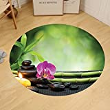 Gzhihine Custom round floor mat Spa Decor Spa with Spring Water and Health Giving Properties Asian Eastern Way of Getting Better Art Photo Bedroom Living Room Dorm Decor Multi