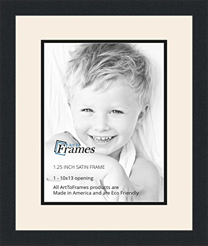 Art to Frames Double-Multimat-641-824/89-FRBW26079 Collage Photo Frame Double Mat with 1-10x13 Openings and Satin Black Frame