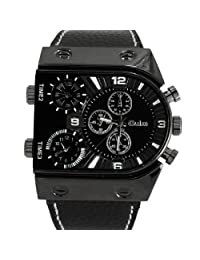 Oulm Analog Quartz Black U-type Dials Men Leather Wrist Watch