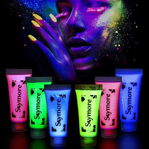 SKYMORE Glow Paint, Neon UV Glow Tattoo,Moon Glow Blacklight Face and Body Paint Set,Fluorescent Colour Paint, 6 Pcs]()