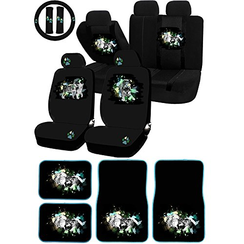 UAA 26pc Mom and Pup Wolf Pack Animal Universal Seat Cover & Carpet mat Set