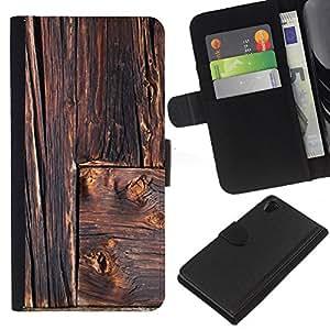 KLONGSHOP // Tirón de la caja Cartera de cuero con ranuras para tarjetas - Rústico Líneas Arquitectura Carpintero - Sony Xperia Z2 D6502 //