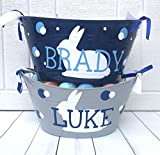 Personalized Easter Bunny Oval Tub Basket, Personalized Easter Basket, Personalized Easter Bucket
