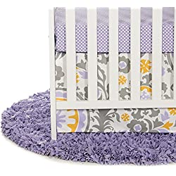 Glenna Jean Sweet Potato Fiona Girl's 3 Piece Set Includes Quilt, Micro Dot Sheet, Crib Skirt, Purple/White/Yellow
