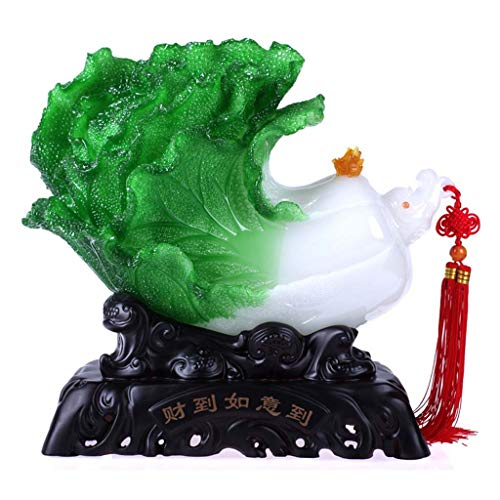 - HUYYB Feng Shui Decor for Office,Statues and Sculptures Collectible-Tabletop Scenes Handmade Crafts Gift-Cabbage Decoration,Green_15.5x7.5x13.5inch