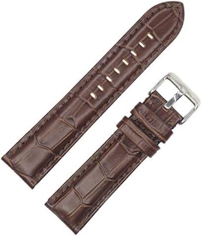 Dakota Men's 18128 Quartz Dark Brown Croc Grain Genuine Padded Leather Watch Band (20 mm, 22 mm, 24 mm, 26 mm), 26 mm