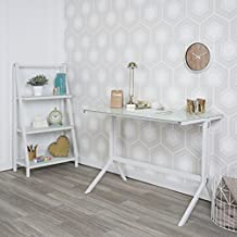 WE Furniture Glass Computer Desk and Shelving, White