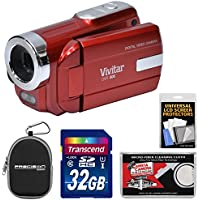 Vivitar DVR-508 HD Digital Video Camera Camcorder (Red) with 32GB Card + Case + Kit