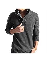 Men's Winter Warm Pullover Sweater Fine Knit Shirt Collar Long Sleeve