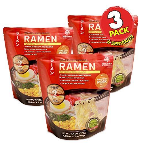 (Hakubaku Ramen Tonkotsu Pork Flavor, 3 Pack, 9.7 ounce (2 servings), Japanese Restaurant-Style Fresh Noodle Soup)