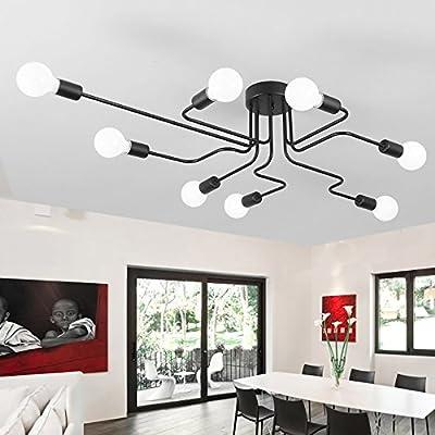 Lingstone Unique Industrial Vintage Wrought Metal Semi Flush Mount Ceiling Lamp Light Fixture , Black