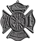 CAST IRON FIREMAN PLAQUE Firefighter Helmet Fire hydrant Hose MAN CAVE