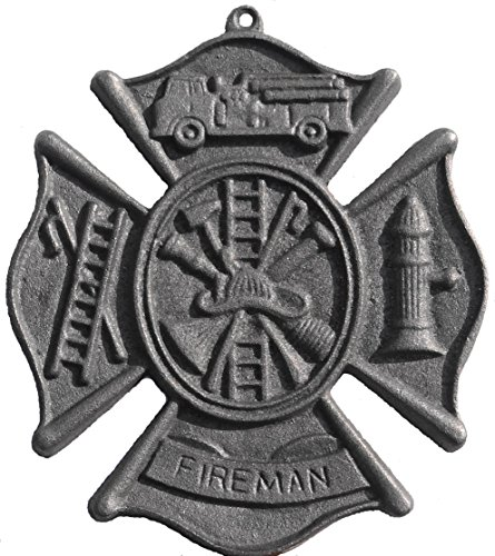CAST IRON FIREMAN PLAQUE Firefighter Helmet Fire hydrant Hose MAN CAVE by OneSquare