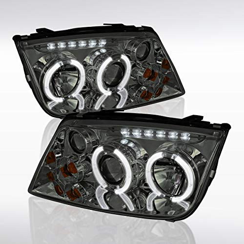 Autozensation For Volkswagen Jetta Bora Smoke w/Dual LED Halo Projector Headlights Pair