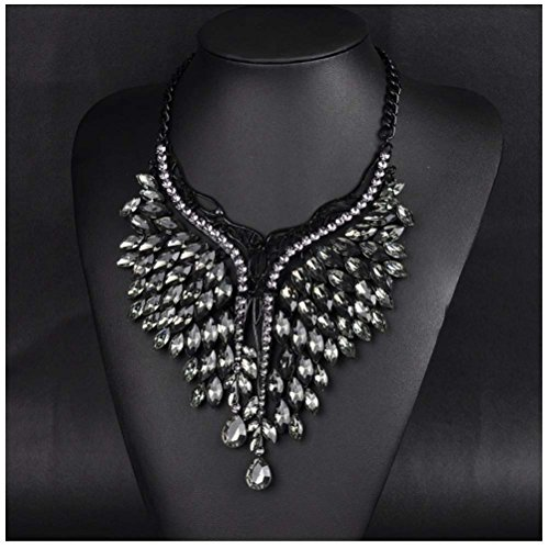 Women Handmade Bib Pendant Crystal Statement Choker Necklace (black) (Handmade Studded Bib)