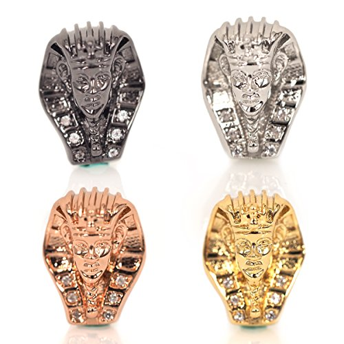 Egyptian Pharaoh Head Beads CZ Pave Sphinx Beaded Charm for Bracelet Jewelry Making Findings 10x14mm 10Pcs