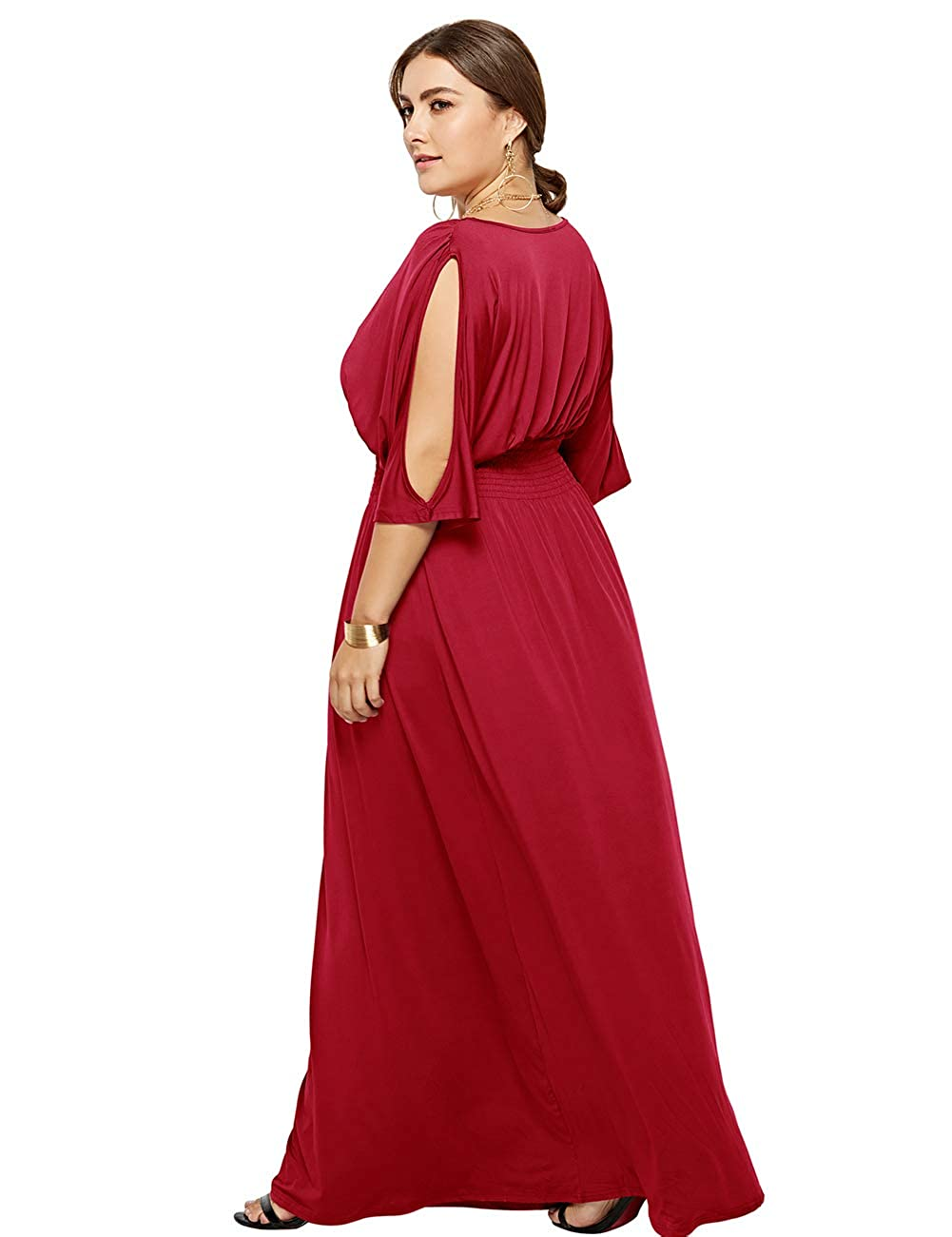 Airymap Plain Maxi Dress Off Sleeve Defined Waist Plus Size Evening Gowns for Ladies