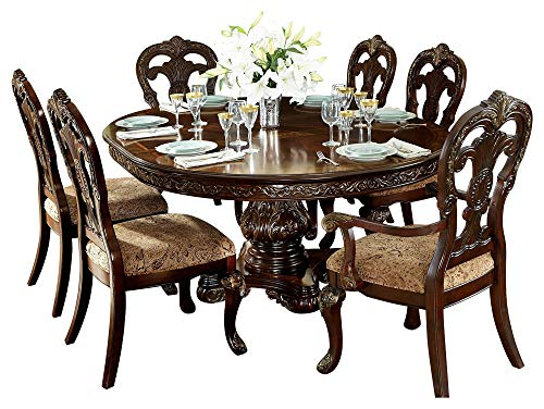 Debroux English Estate 7PC Dining Set Round/Oval Table, 2 Arm, 4 Side Chair in Cherry