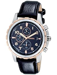 Fossil Men's Leather Strap Analog Dial Chronograph Watch Black FS4545