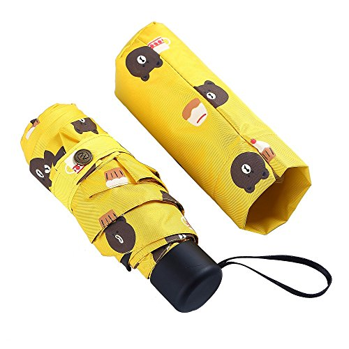 5 Folding Travel Pocket Umbrella Mini Umbrella for Girl pink Color BETTER NOT USED IN THE BIG WIND (Yellow)