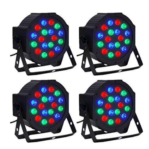 LED Par Light CO-Z 18x3W RGB DJ Stage Party Lights PAR 64 DMX (4pcs) (Led Par Lights)